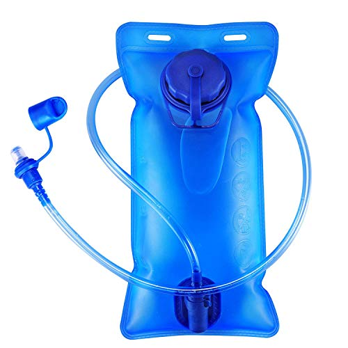 Kuyou Hydration Bladder 2 Litre Water Reservoir Upgraded Leak Proof Water Bladder Hydration Pack Replacement with Quick Release Insulated Tube and Auto Shut Off Valve for Climbing Cycling Running