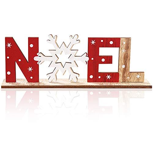 FANDE Decoración de Mesa de Navidad de Madera;etrero de Copo de Nieve de Navidad, Decoración de Placa de Madera, Decoraciones Navideñas Creativas, Artesanías de Madera
