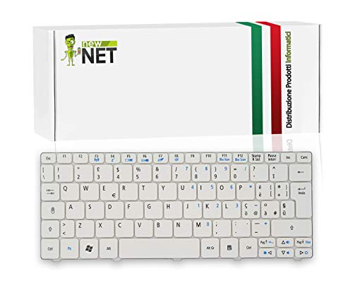 New Net Keyboards Tastiera Italiana Compatibile con Notebook Acer Aspire One 521 522 532 533 532H D255 D260 D270 PAV70 NAV70 NAV51 NAV50 D257 AO521 AO533 Bianco