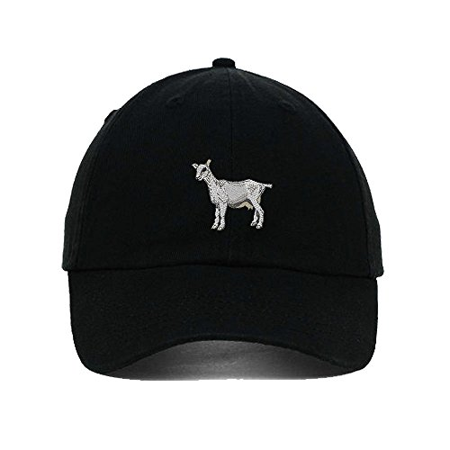 I Love Heart Goats Embroidery Twill Cotton 6 Panel Low Profile Hat Black