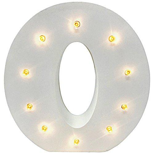 Lettres en bois Live It Style It à ampoules LED, lettres de l'alphabet, chiffres, panneaux lumineux à piles, décoration en bois, blanc