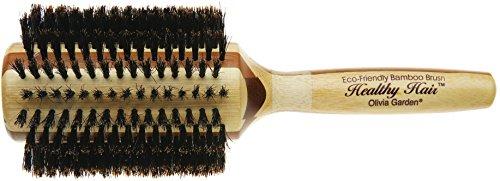 Olivia Garden Healthy Hair Brosse Thermale Ronde en Bambou avec Poils 100% Sanglier, Diamètre 50mm - Corps de Brosse Ecologique en Bambou avec Poils 100 % Pur Sanglier pour des Cheveux Brillants