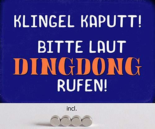 Metalen bord 20 x 30 cm gebogen, incl. 4 magneten bel kaputt Ding Dong Humor spreuk spreuken decoratie geschenk bord