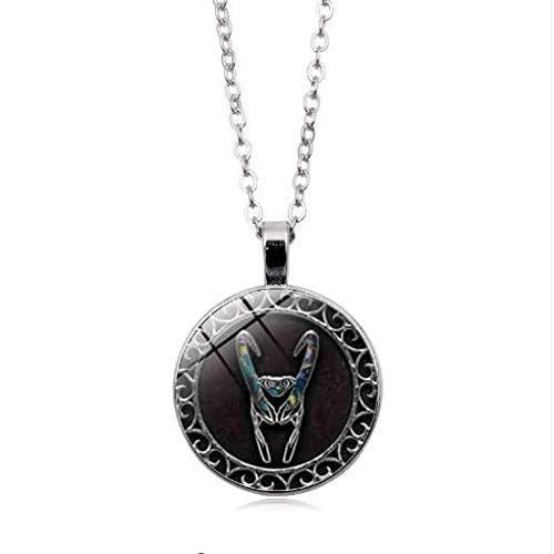 Ciondolo in vetro con simbolo di Loki, con collana, gioiello vintage