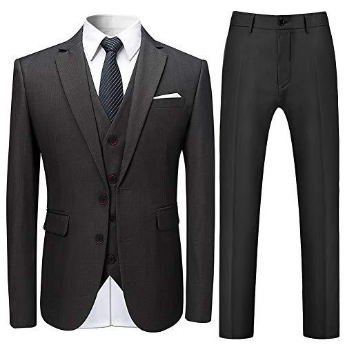 Mens Suits 3 Stuks Slim Fit Bruiloft Formele Diner Suits voor Mannen Blazer Zwarte Navy Wijn Rood 2 Knop Tuxedo Jas Broek Waistcoat
