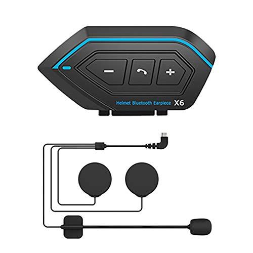 KU Syang Casco Inteligente para Motocicleta, Auriculares InaláMbricos con Manos Libres, Interfono Impermeable con MicróFono de Tubo Duro