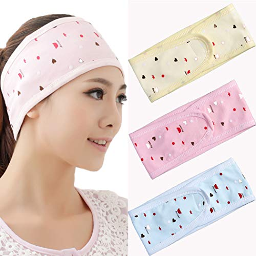 JONKY Pink Double cotton Spa Headbands Adjustable Non Slip Hair Wraps for Washing Face Makeup Beauty Best Gifts Bath Hair Bands for Women and Girls (Pack of 3)