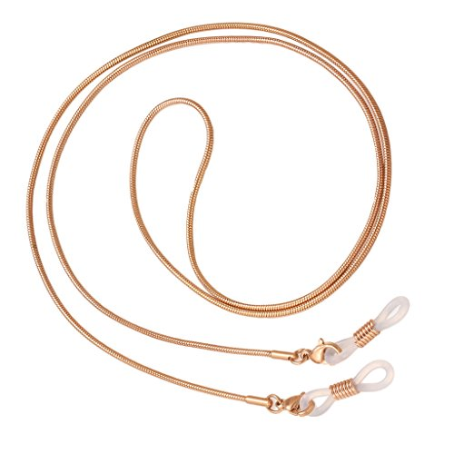 yotijar 3 Colores Metal Anteojos Cadena Cuello Cordón Gafas de Sol Soporte Correa Collar - Oro Rosa