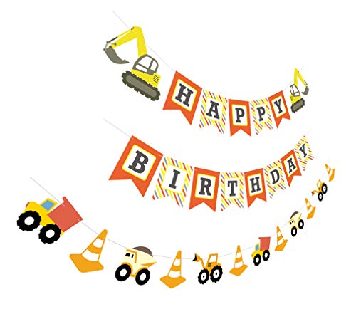 Construction Birthday Banner | Bday Sign Bunting Garland | Truck Excavator Party Decoration for Boy