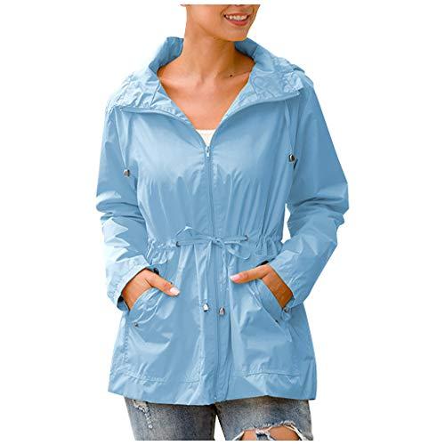 KEYIE Women Hooded Zipper Waterproof Mid-Length Windproof Raincoat Outdoor Jacket Sky Blue