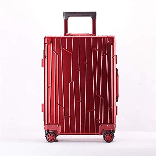 BERTY·PUYI Equipaje facturado Maleta de Equipaje portátil de 20 Pulgadas y 24 Pulgadas de aleación de Aluminio y magnesio con cerraduras Maleta con Ruedas y Ruedas-Red  20 Inch