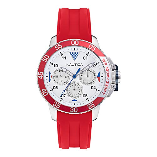 Nautica Men's Stainless Steel Quartz Silicone Strap, Red, 22 Casual Watch (Model: NAPBHS012)