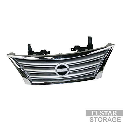 CarPartsDepot New Replacement Parts Front Silver Black Grille Grill With Chrome Molding Compatible With NISSAN Sentra 13-15