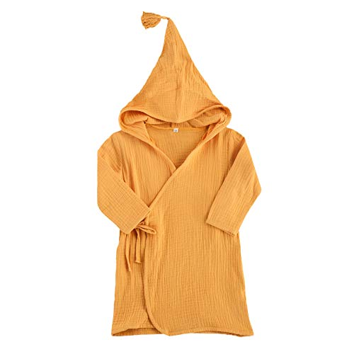 Toddler Baby Girl Boy Long Sleeve Cotton Linen Bathrobe Solid Color Kimono Hooded Robe (Yellow, 2-3T) Maine