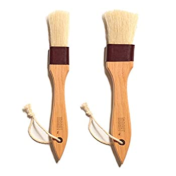 MSART Pastry Brush Natural Bristle Wooden Basting/Food Brush with Beech Wood Handle and Rope Hook Great for Butter Cookies Oil Bread Frosting Easy to Clean  1 inch & 1.5 inch Set