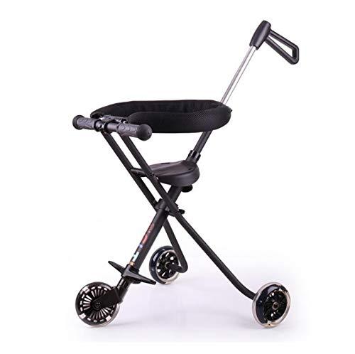 QEEN 2018 nuevos cochecitos Plegables portátiles para bebés de 3 Ruedas para niños 3~8 años de Edad Simple aleación de Aluminio aleación al Aire Libre niño Scooter (Color : Black with guardrail)