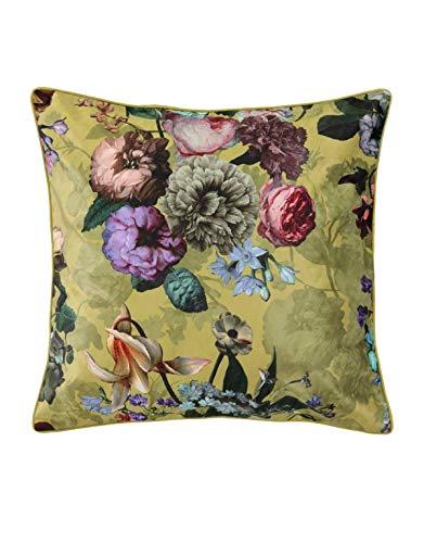 ESSENZA Dekokissen Quadratisch Fleur Blumen Pfingstrosen Tulpen Polyester Gelb, 50x50 cm