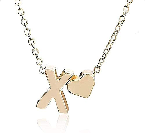 LBBYLFFF Collar de Moda Collar pequeño y Simple Collar de Cadena de Oro Letra AZ Collar con Colgante de corazón de Amor de Oro Mejor Regalo de cumpleaños Joyería para niñas Regalos