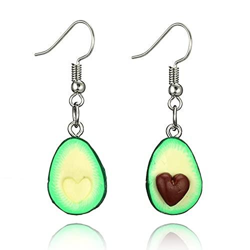 PPYA BFF Avocado Necklace, Best Friend Cute Avocado Friendship Necklac, Girls Sisters Couple Necklace Jewelry Set (Heart Earrings)