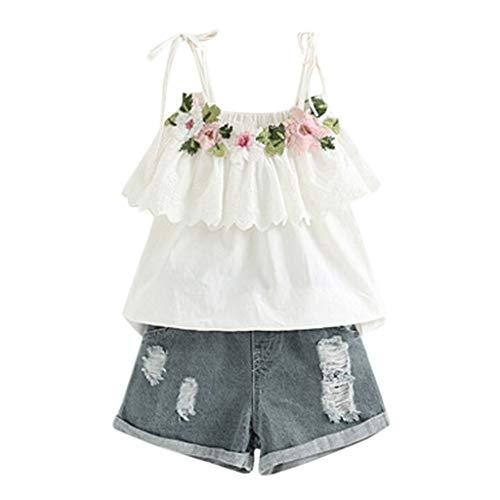 Briskorry Tenue d'été pour fille - Pour l'été - Avec gilet à manches longues - T-shirt + short court avec motif floral - 2 pièces