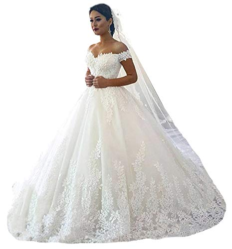Fanciest Women's Lace Wedding Dresses for Bride 2021 Ball Gowns White