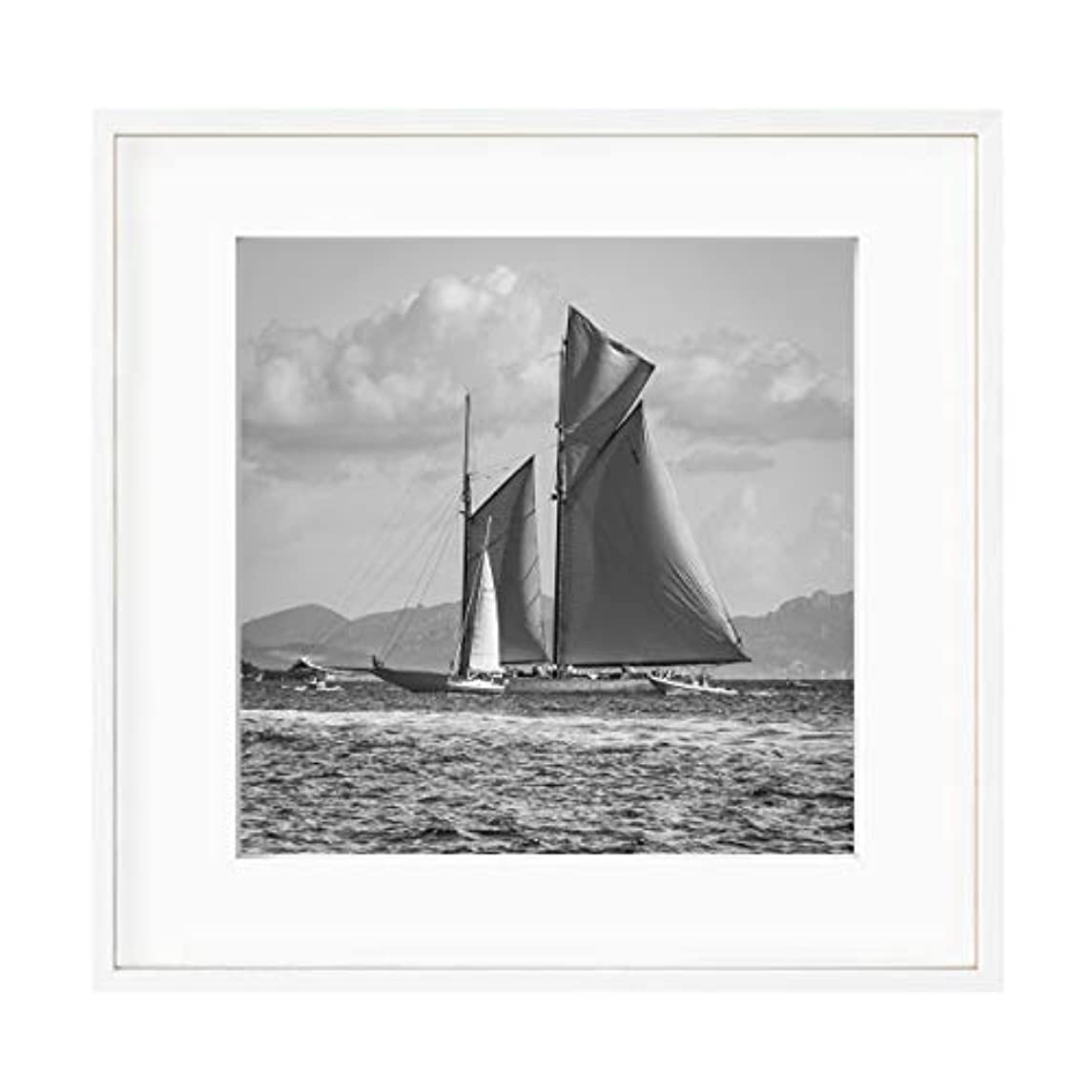 Black and White Sailing Boat, Natural Solid Oak Frame, with Mount, Multicolored, 40x40