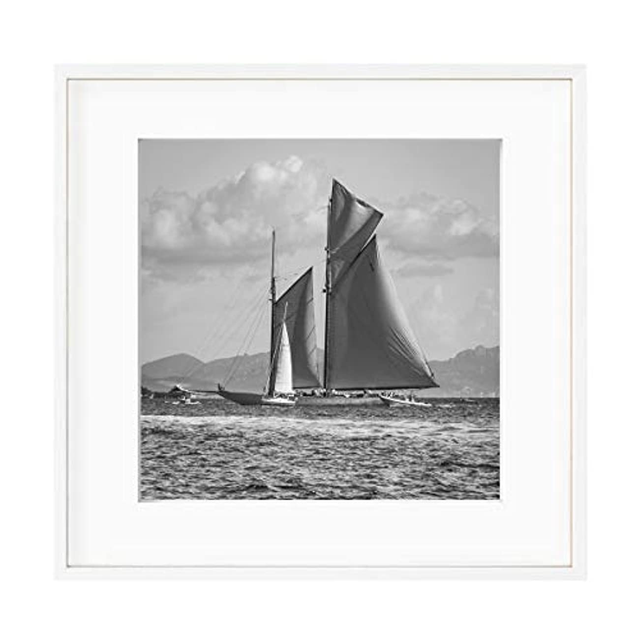 Black and White Sailing Boat, Natural Solid Oak Frame, with Mount, Multicolored, 50x50