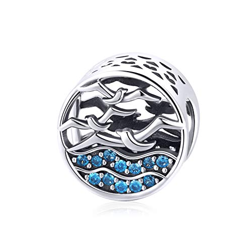 VOROCO 925 Sterling Silver Ladybug Owl Lucky Cat Elephant Heart Cubic Zircon Charms Beads fit for Pandora Bracelets with Gifts Box (Seagull)