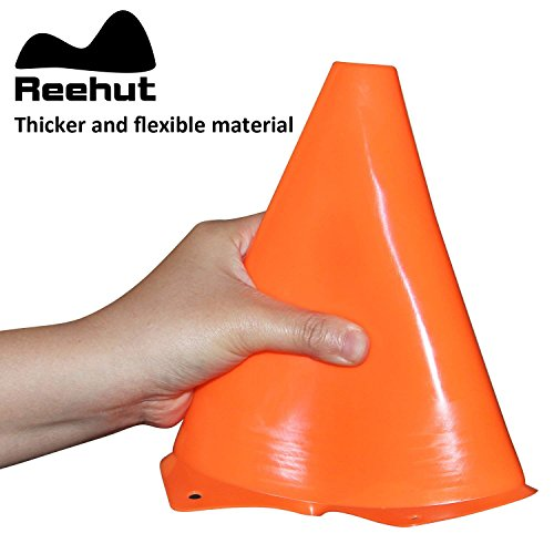 REEHUT 7.5 Inch Plastic Sport Training Traffic Cone- For Kids Home GYM Football Training Soccer (Set of 12,Orange)