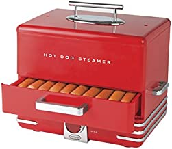 Nostalgia HDS248RD Extra Large Diner-Style Steamer 24 Hot Dogs and 12 Bun Capacity, Perfect For Breakfast Sausages, Brats, Vegetables, Fish-Red
