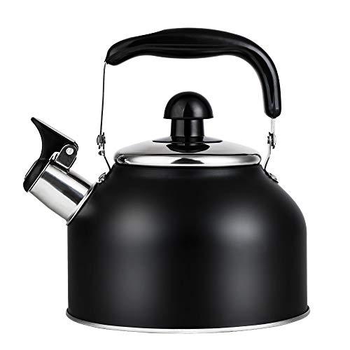 Vinekraft Hervidor de agua tradicional con silbato de acero inoxidable para induccion (2,7 L), color negro