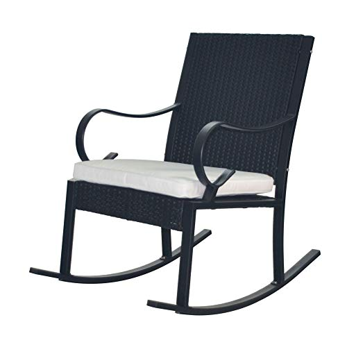 41' Black Contemporary Outdoor Furniture Patio Wicker Rocking Chair - White Cushion