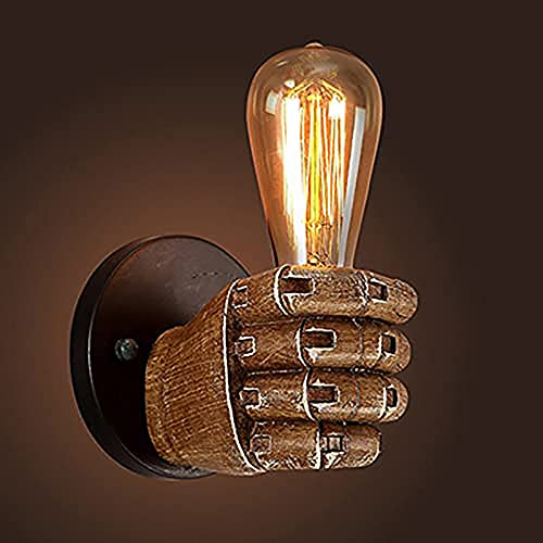 Vintage Fist Wall Light Handheld Wall Lamp Holder Industrial Wall Lamp Fixtures Farmhouse Wall Sconces E27 Loft Retro Living Room Bedroom Stairs Decor (Left)