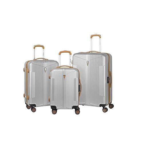 Murano – Juego de 3 maletas, 2 tamaños y 1 tamaño cabina – equipaje rígido ABS – plata – Gama IOA