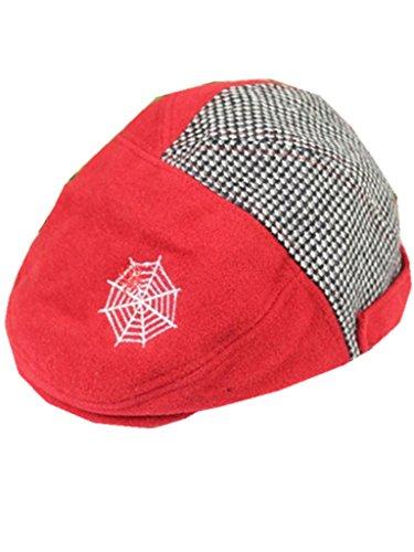 YICHUN Bébé Enfant Garçon Fille Chapeau Béret Casquette Chaud Chapeau de Base-Ball Bonnet(Tour de Tête :47-51cm) (Rouge)