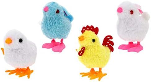 NUOBESTY 4 stks Pasen Wind Up Speelgoed Wind up Dier Speelgoed Jumping Bunny Chick Kip Pluche Speelgoed voor Pasen Party Gunsten Pasen Mand Vulstoffen