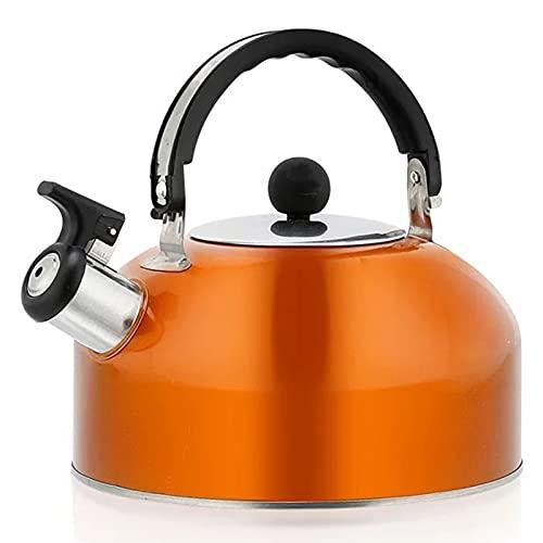 Gaoominy Home Hervidor con Silbato para Estufa de Gas Botella de Agua para Hervidor de Té con Silbato de Acero Inoxidable 3L (Naranja)