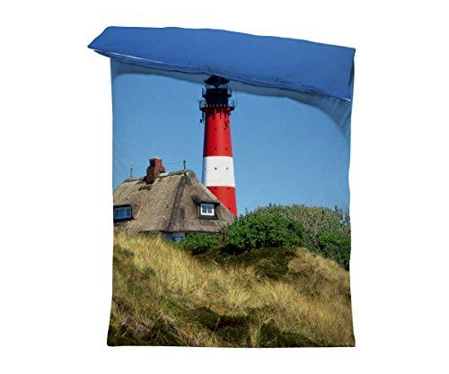 fotobar!style Bettbezug 135 x 200 cm Leuchtturm Insel Sylt