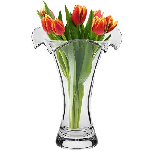 KROSNO Hoge Glazen Vaas voor Bloemen | 270 mm Hoog | Wave-collectie | Perfect voor Thuis, Restaurants en Feesten | Handen wassen