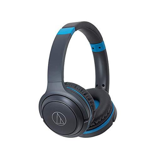 Audio-Technica Fones de ouvido intra-auriculares sem fio Bluetooth ATH-S200BTGBL com microfone e controles embutidos, cinza/azul