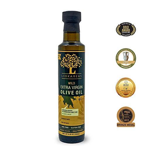 Wild Greek Extra Virgin Olive Oil - Organic - Kosher - Single Sourced - Limited Stock - Premium - Cold Pressed - Gluten Free - NonGMO - Unfiltered - For Salads/Finishing Oil - Hair & Skin Moisturizing - 2020 International Award Winning Olive Oil