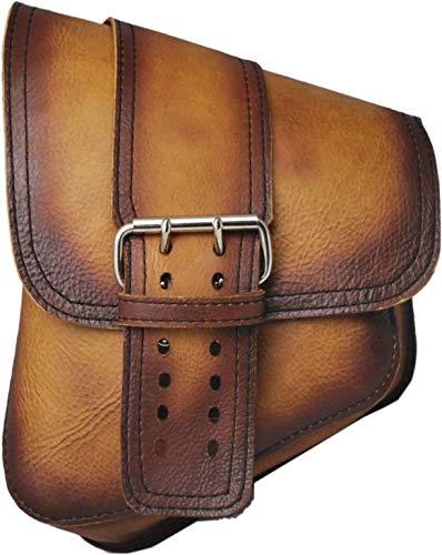 La Rosa Softail Rigid Chopper Bobber Antique Dark Tan Leather Left Swing Arm Saddle Bag