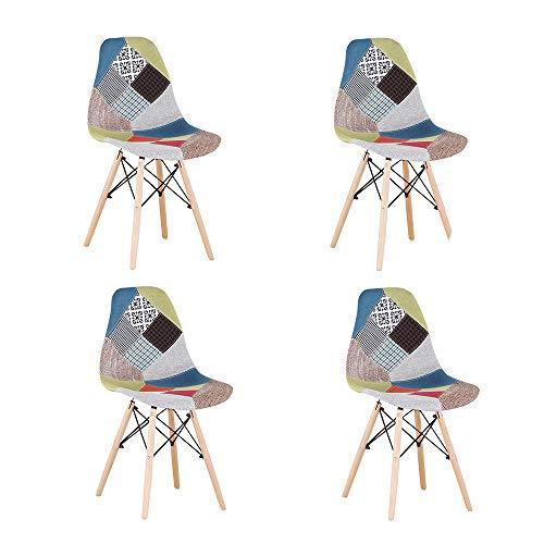 Juego de 4 sillas de comedor de estilo nórdico, color verde