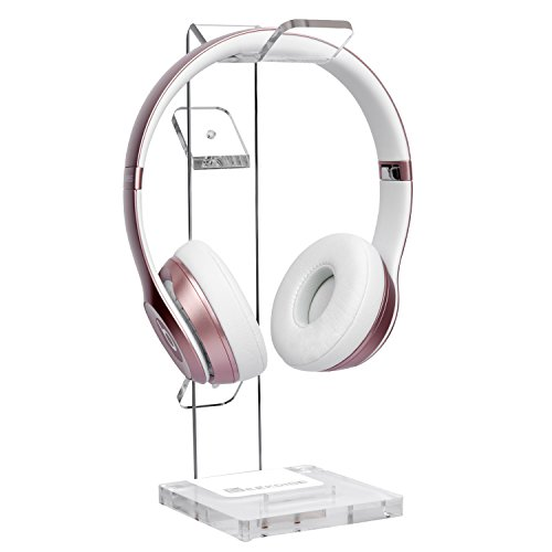 GeekDigg Acrylic Headset Headphone Stand Gaming Headphone Holder with Cable Organizer-Transparent