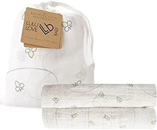 """100% Organic Cotton Muslin Swaddle Blanket Set """"Amber"""" by Lulu Love Baby – 2 Pack – Unisex Design for Girls & Boys – Perfect Shower Gift Idea"""