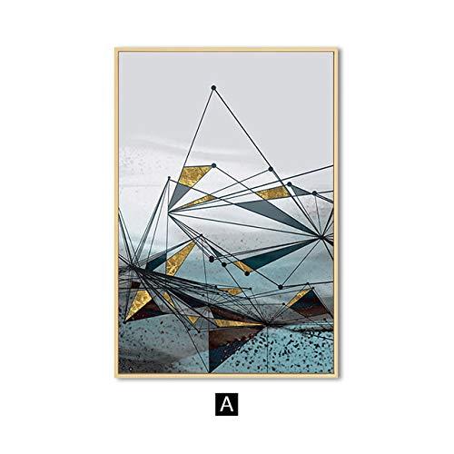 Nordic geometrische abstrakte Leinwand Malerei Gold Wandkunst Moderne Kunst Wand Poster drucken Wohnzimmer dekorative Malerei rahmenlose Malerei Kern 1 40x60cm