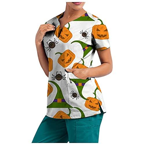 XUNN - Camiseta de manga corta para mujer, cuello en V, con cremallera, top para Halloween, diseño informal con dos bolsillos, B-Verde., XXL