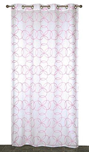 Atout Ciel Cercles Rideau-Panneau Prêt à Poser, Polyester, Rose, 140x240x5 cm