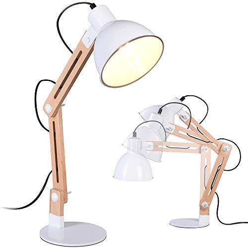 Bakaji - Lámpara de mesa de escritorio ajustable inclinable con pantalla orrinetable de metal y madera, bombilla E27 de 40 W, diseño moderno industrial, color blanco natural, 60 x 16 cm