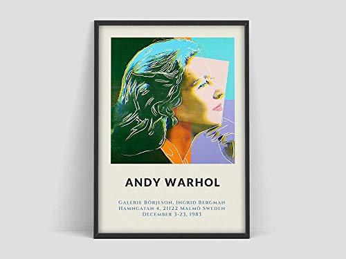 Andy Warhol Ingrid Bergman Poster, Warhol Ausstellungsplakat, Ingrid Bergman Poster, Andy Warhol Ausstellung, Warhol Kunstdruck der rahmenlosen Familiendekoration Z21 40x60cm